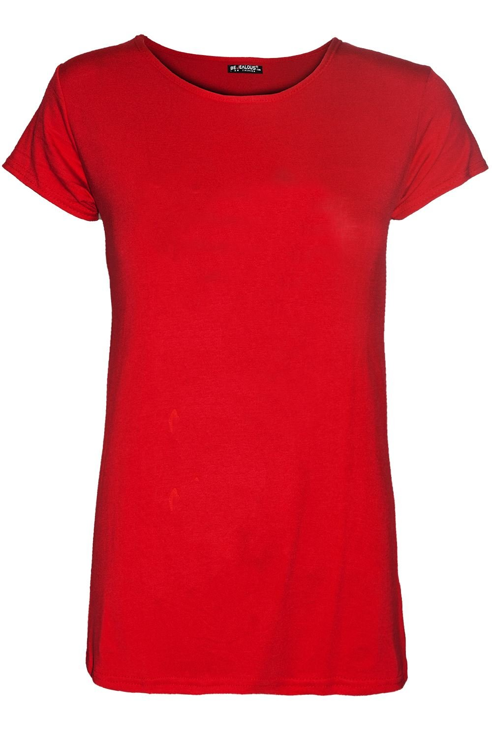 Be Jealous Womens Ladies Plain Casual Cap Sleeve Top Stretchy Basic Jersey Tee T Shirt Top UK Plus Size 8-22