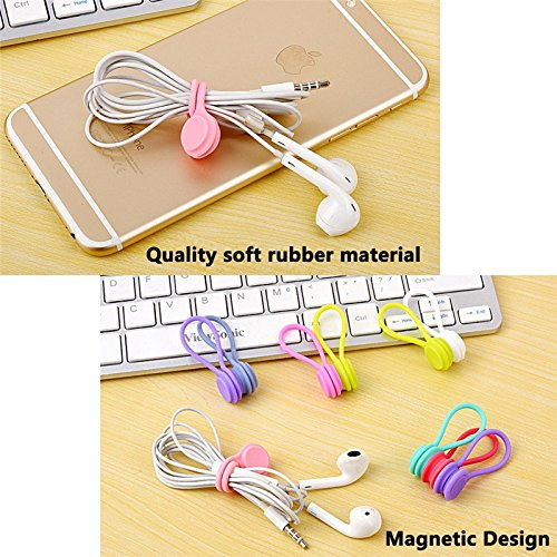 8 Pcs Multi-function Silicone Magnetic Wire Cable Organizer Phone Key Cord Clip USB Earphone Clips Data Line Storage Holder