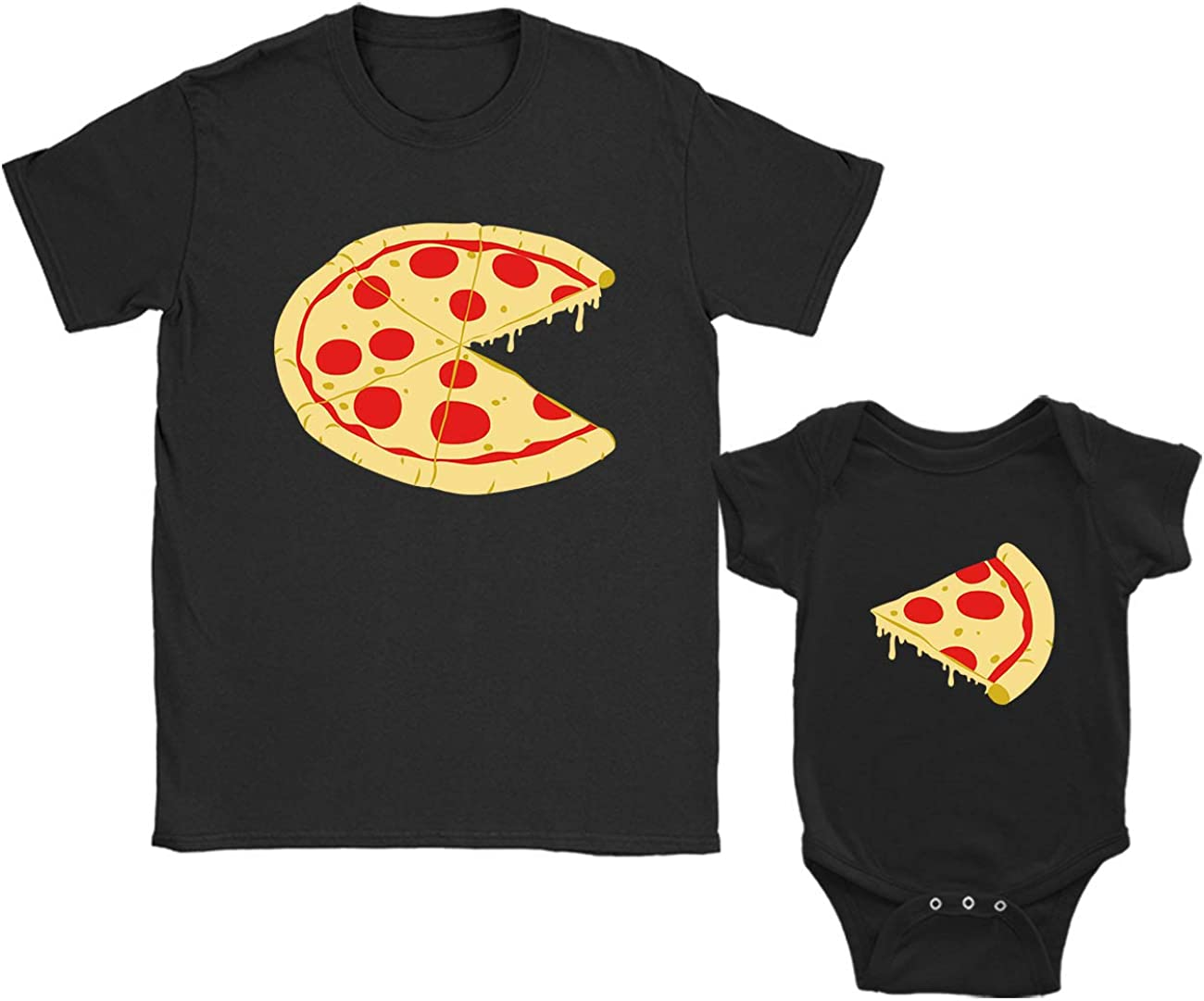 Green Turtle T-Shirts Regalos para Papas Primerizos, Camiseta Padre e Hijo Pizza