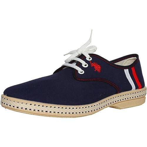 U.S. Polo - Zapatos de Cordones de Lona para Hombre Azul Navy/Dark ...