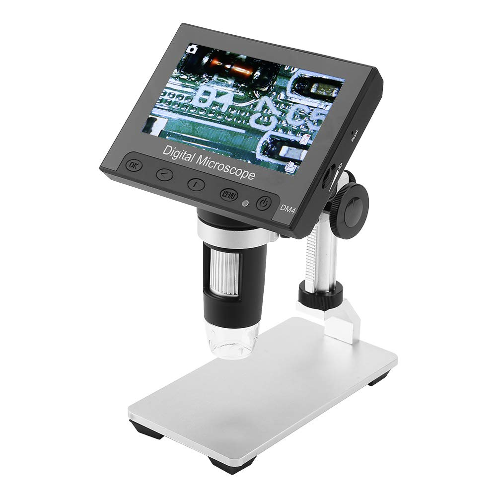 Akozon USB Microscope 4.3inch 2MP Display Photos & Videos 8LEDs with Holder(Aluminum Alloy Holder)
