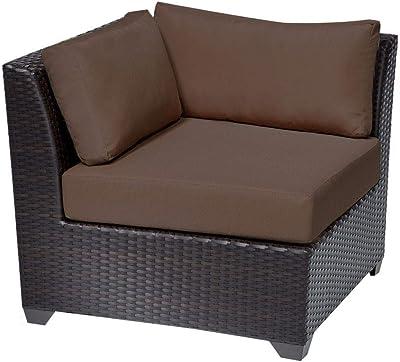 TKC Barbados Outdoor Wicker Corner Chair in Cocoa
