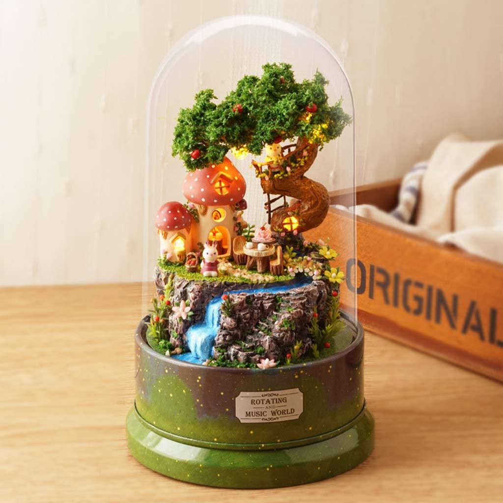 Garden Diary Castle In The Sky Kofun DIY Music Doll Houses Set Dollhouse Music Box Birthday