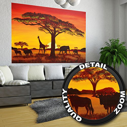 Great Art Sunset in Africa Wallpaper ñ Africa Sunset ñ Africa Safari Wallpaper ñ XXL Wall Decoration 55 Inch x 39.4 - Safari Wallpaper Border