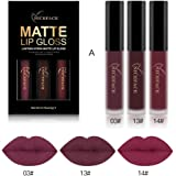Rossetto, BeautyTop 3PCS Impermeabile Matte Liquido Pennarelli Kit Rossetti Lip Stick Trucco da Labbra (A)