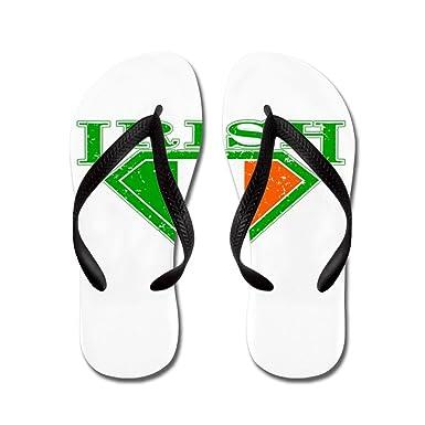 8555f1203ea04 ... Royal Lion Kid s Irish Superman Crest Luck of Irish Black Rubber Flip  Flops Sandals .
