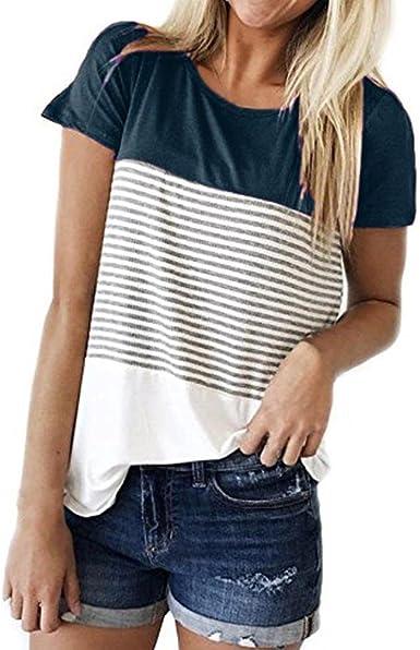 Camisetas Mujer Verano Xinantime Camisetas Mujer Manga Corta Rayas Blusa Mujer Sport Tops Mujer Verano Camisetas Mujer Tallas Grandes: Amazon.es: Ropa y accesorios
