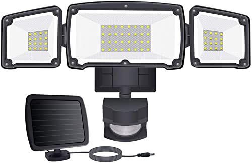 Samuyang LED Solar Security Lights Outdoor, IP65 Waterproof Dusk to Dawn Solar Motion Sensor Light,1500LM,6000K Daylight Black Flood Light with 3 Adjustable Head for Garage,Backyard, Pathway,Patio