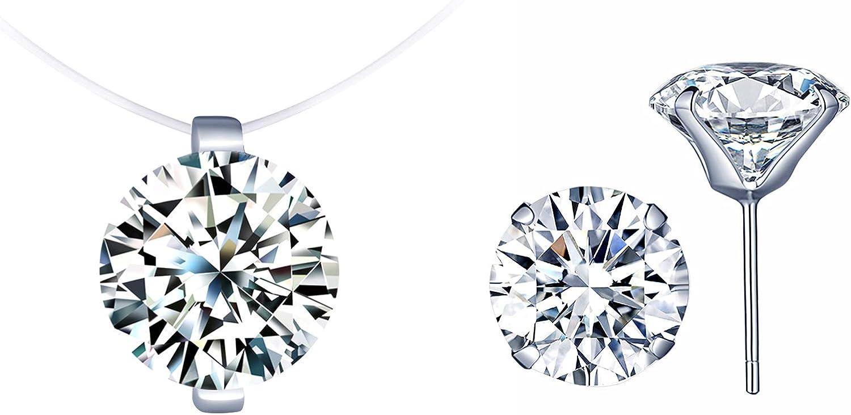 Collar de diamantes invisibles, gargantilla, collar corto con cadena de nylon, colgante de niña mujer, anillo de diamantes, juegos de joyas, regalo de cumpleaños de Navidad