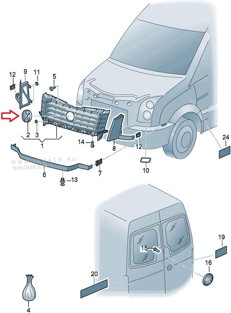7E0853601C Volkswagen Recambios Originales Emblema Parrilla Delantera