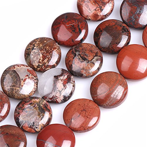 - Red Jasper Beads for Jewelry Making Natural Semi Precious Gemstone 20mm Coin Strand 15