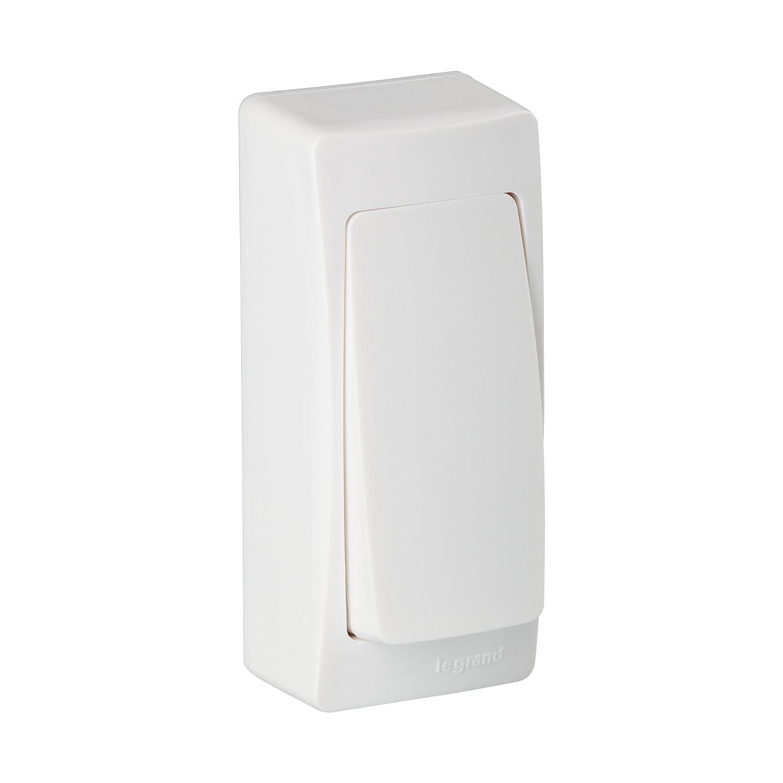 Legrand LEG97341 Interrupteur ou va et vient version é troite saillie 2300 W en 230 V Blanc Appareillage prise tv rj45 poussoir variateur telephone vmc volet roulant radio thermostat usb câble etanche carillon obturateur