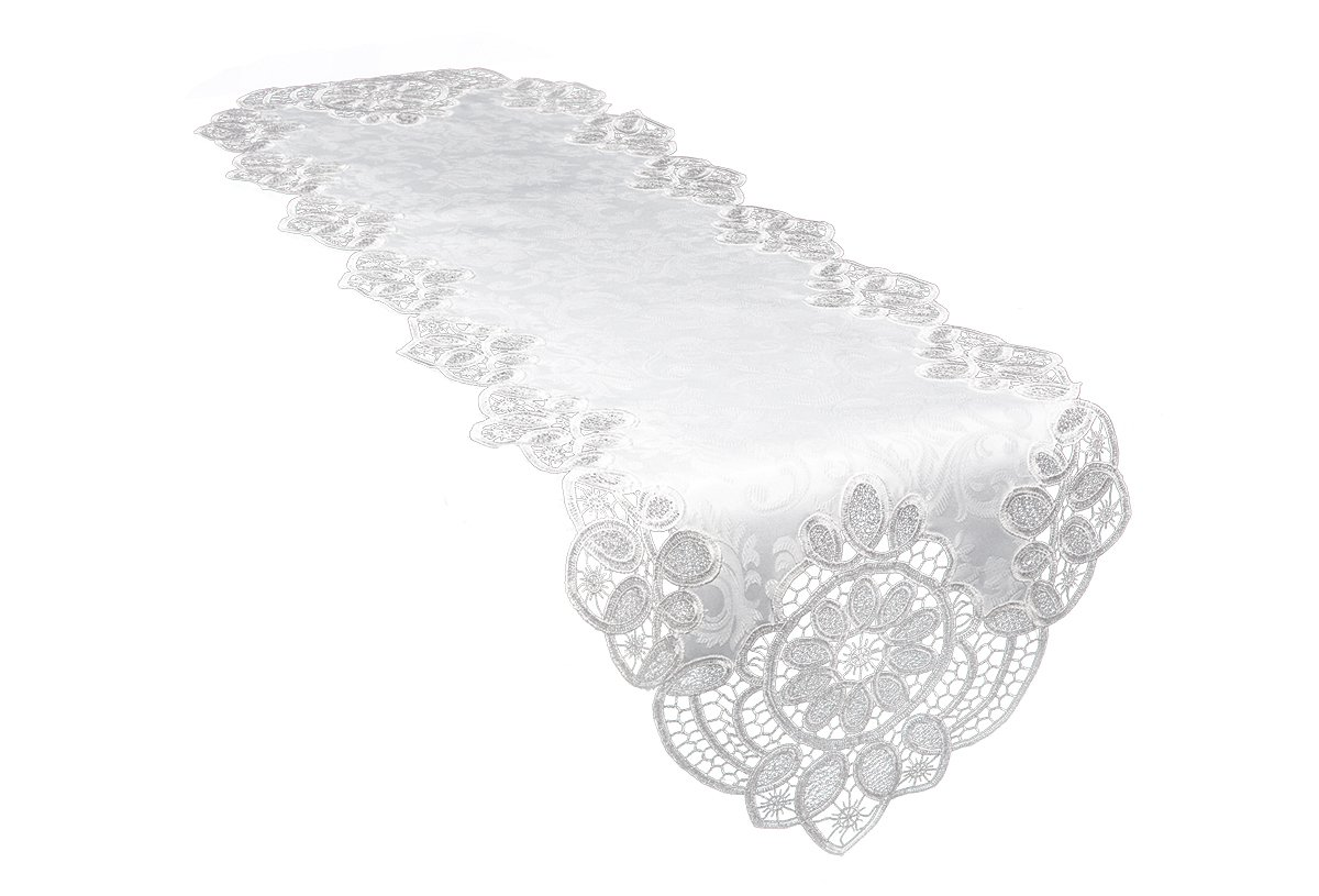 Xia Home Fashions XD17190 Antebella Lace Embroidered Cutwork Table Runner, 15 by 108-Inch, White