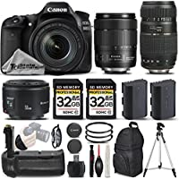 Canon EOS 80D Wi-Fi Full HD 1080P Digital SLR Camera + Canon 18-135mm IS USM Lens + Canon 50mm 1.8 II Lens + Tamron 70-300mm Lens. All Original Accessories Included - International Version