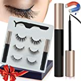 Magnetic Eyelashes, Magnetic Eyeliner and Lashes Kit with 2 Tubes Of Eyeliner, 3 Styles Magnetic Lashes, Reusable Silk…