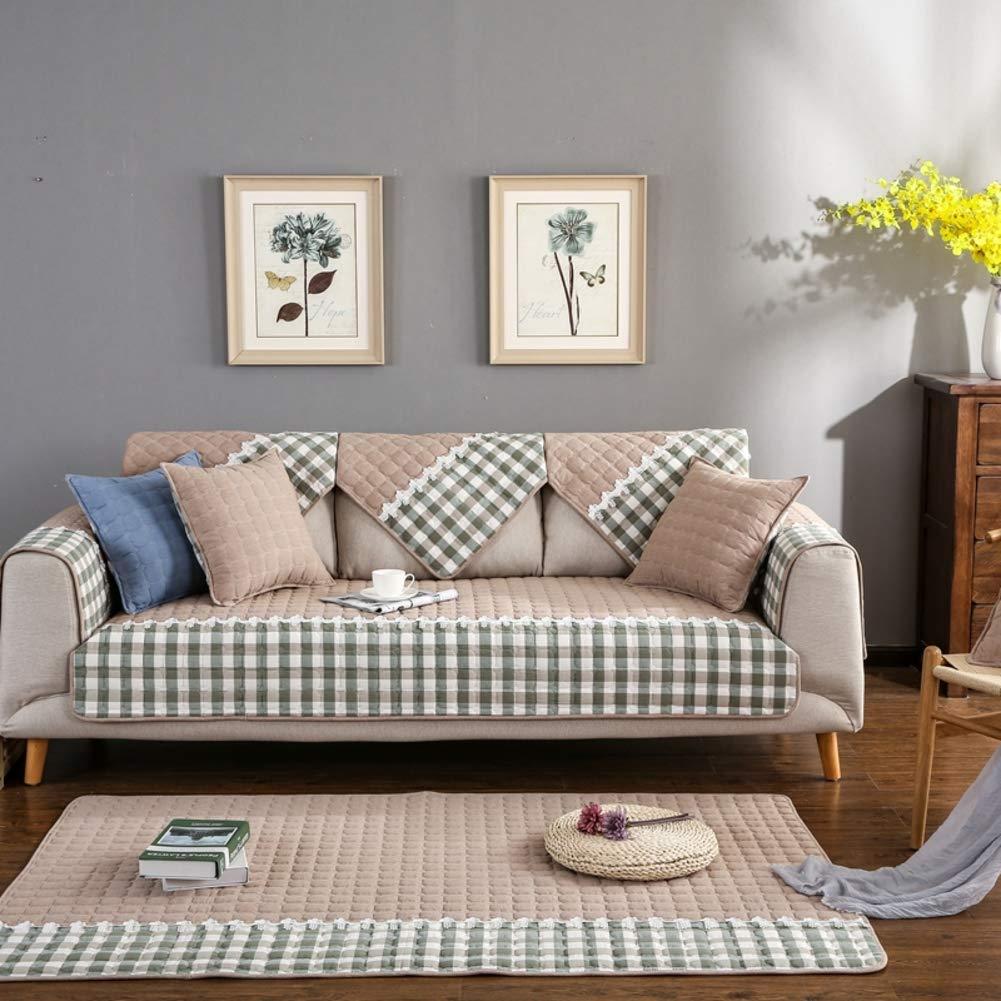 YQ WHJB Cotton Sofa Cover Protector,Anti-Slip Sofa Towel,Four Seasons Sofa Cushioning Bay Window pad Couch Protector for Dog-Khaki 90x120cm(35x47inch)