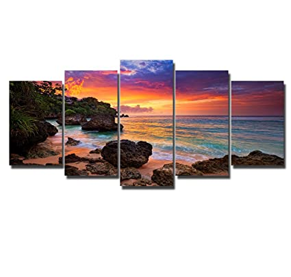 PIY Canvas Wall Art For Living Room Beautiful Beach Sunset Picture Prints Multi