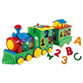 Lemical Early Education Baby Toy Intelligence Electric Train 3D Colour  Light &360 Degree Rotation/ Matching Game Building Blocks Toy Music Action  Fun