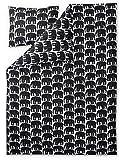 Finlayson elefantti Bettbezug-Set mit Kissen Fall, Baumwolle, Schwarz, 150x 210cm