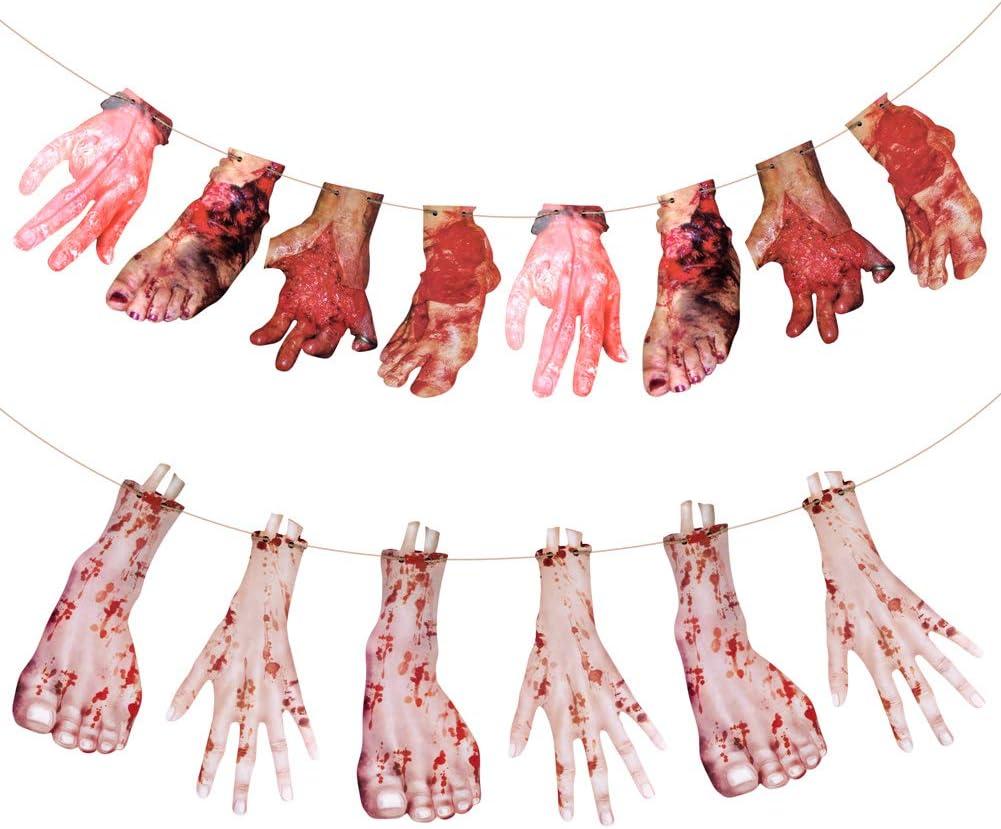 Sangre de Halloween Manos y pies Garland 2 Pack Adornos Fake Scary sangrienta para casa embrujada Halloween Vampiro Zombie Party Decoraciones Suministros Colgar Conjunto de Banner(Hands and Feet): Amazon.es: Hogar