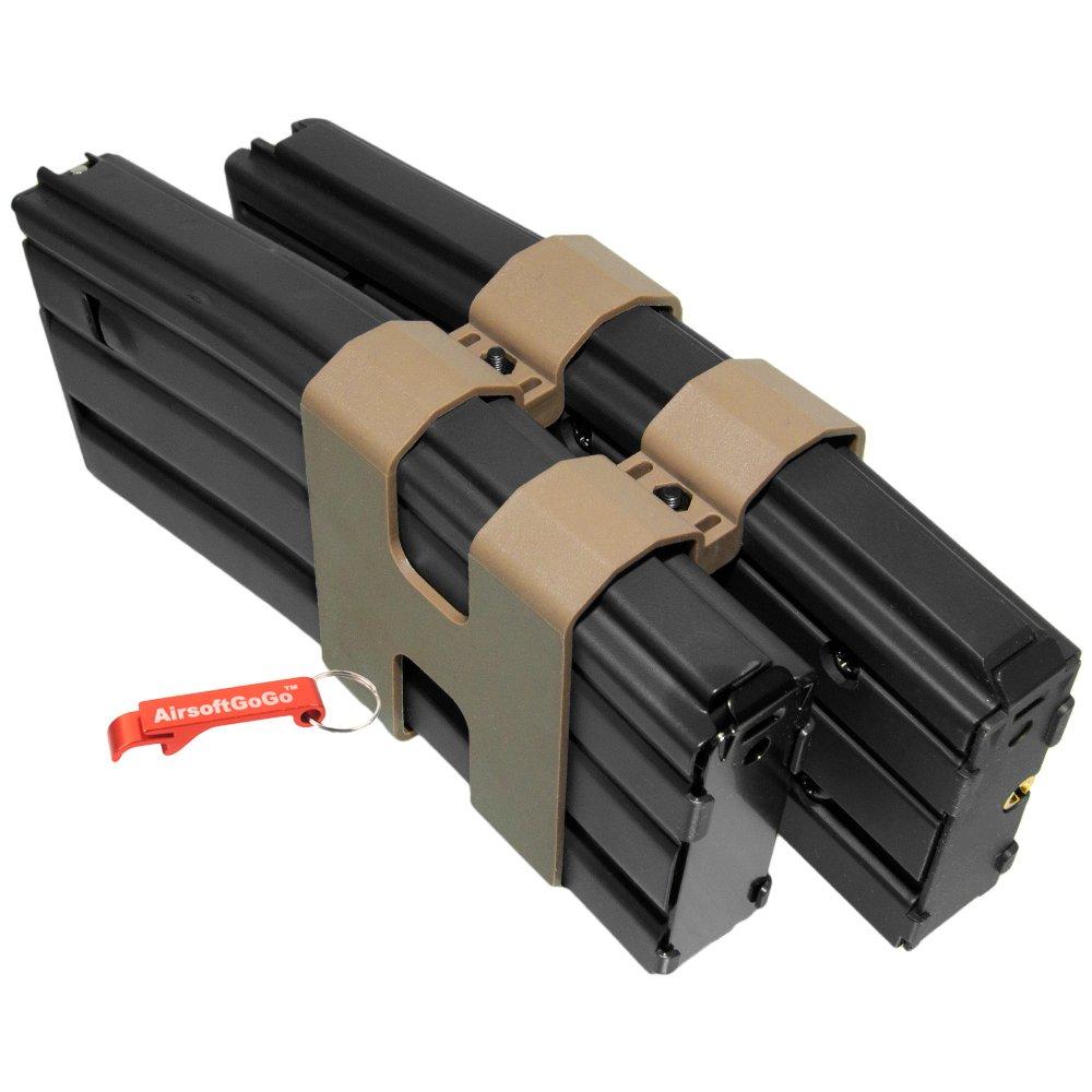AirsoftGoGo 80rd Metal Doble Cargador para We M4 Airsoft GBBR (Negro) Llavero Incluido