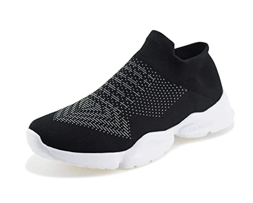 f0fe153a0cb3a Jabasic Women Slip on Loafers Breathable Knit Flat Walking Shoes