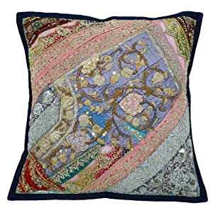 Blue Cushion Case Beaded Home Décor Designer Decorative Patchwork Pillow Cover India 18x18 Inc Gift
