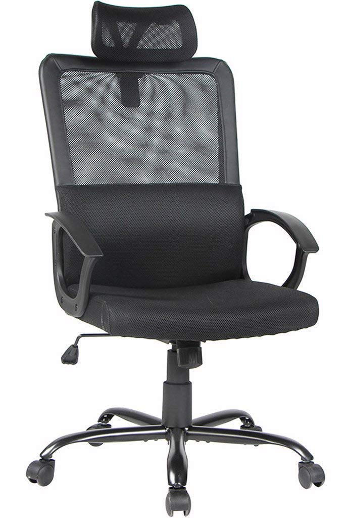 Smugdesk Ergonomic Office Chair Adjustable Headrest Mesh Office Chair Office Desk Chair Computer Task Chair (Black) - 2579