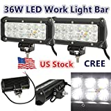 2x 7INCH 36W CREE LED WORK LIGHT BAR FLOOD OFFROAD LAMP 4WD BOAT ATV DRIVING SM