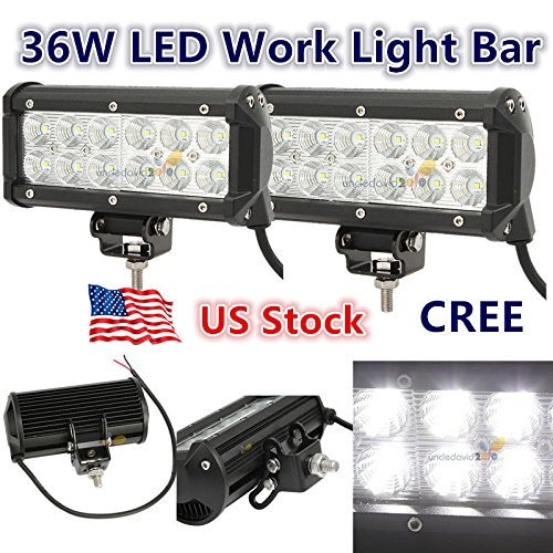 2x 7INCH 36W CREE LED WORK LIGHT BAR FLOOD OFFROAD LAMP 4WD BOAT ATV DRIVING SM by Unknown