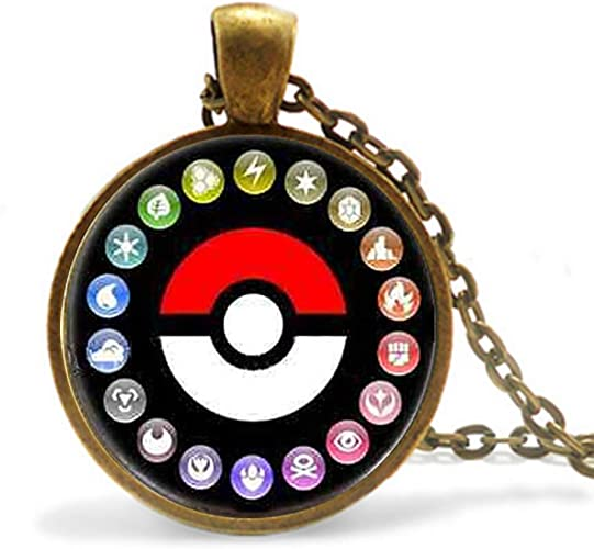 calhepco Pikachu Pokemon Photo Game Chain Necklace Game Fashion Charm Glass Cabochon Round Toy Pendant