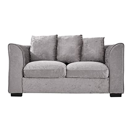 Magnificent Wellgarden Crushed Velvet Corner Sofa 2 Seater Fabric Sofa Settee Living Room Fabric Sofa Couch With 3 Pillows Upholstered Cushion Silver Colour 2 Home Interior And Landscaping Eliaenasavecom