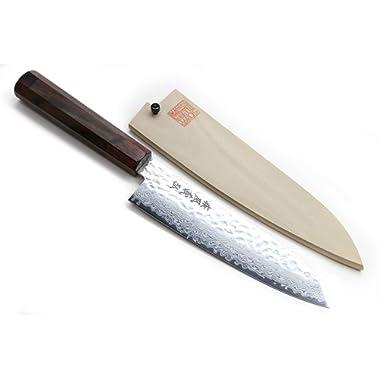 Yoshihiro NSW 46 Layers Hammered Damascus Santoku Japanese Multipurpose Chef Knife 7 IN with Natural Magnolia Saya Cover