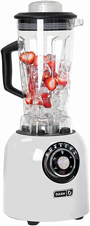 Dash, Sm with Stainless Steel Blades + Digital Display for Coffee Drinks, Frozen Cocktails, Smoothies, Soup, Fondue & More, 64 oz, White