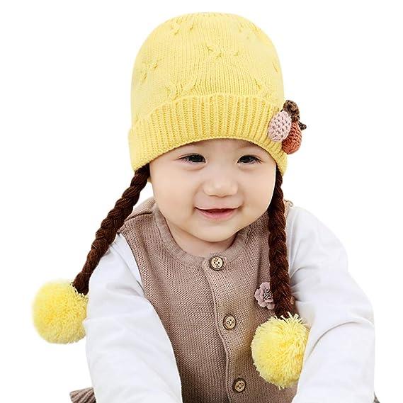Mitlfuny Niños Niñas Sombreros de Lana Gruesa para Bebé Invierno Caliente  Gorro de Punto con Earbud Escorpion Color Sólido Fresa Bola de Pelo Beanie  Gorras ... 813174a4731