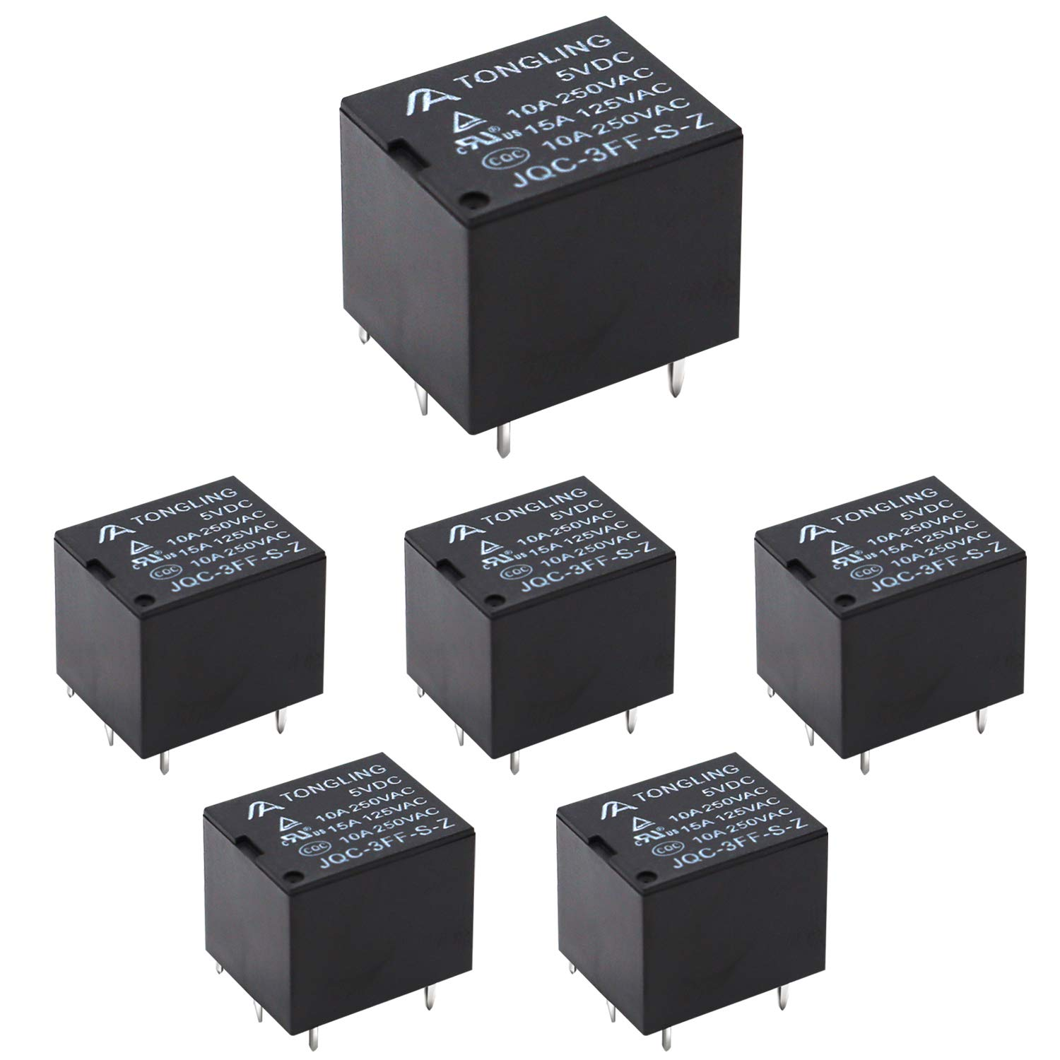 smseace 10PCS Household T73 DC 12V Black Mini 5 pin Small electromagnetic Relay Coil SPST Power PCB Plastic Relay Adjust Automatically Protection Electronic Equipmen JQC 3FF relays T73-BK-12V
