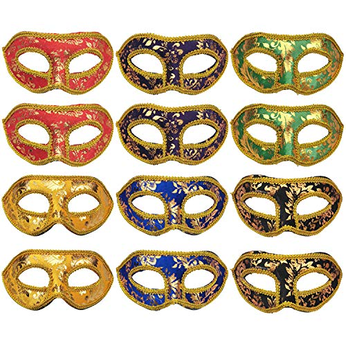 - CSPRING 12PCS Mardi Gras Half Masquerades Venetian Masks for Carnival Evening Prom Ball Fancy Dress Party