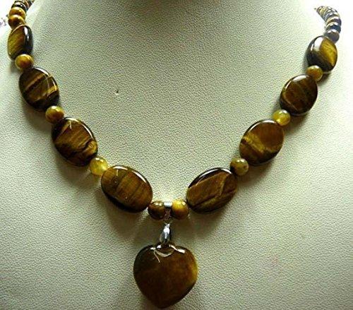 Beautiful Jasper Pendant (Prime Leader Fashion Trendy Beautiful Natural Tiear'S Eye Jasper Heart Pendant Necklace 17