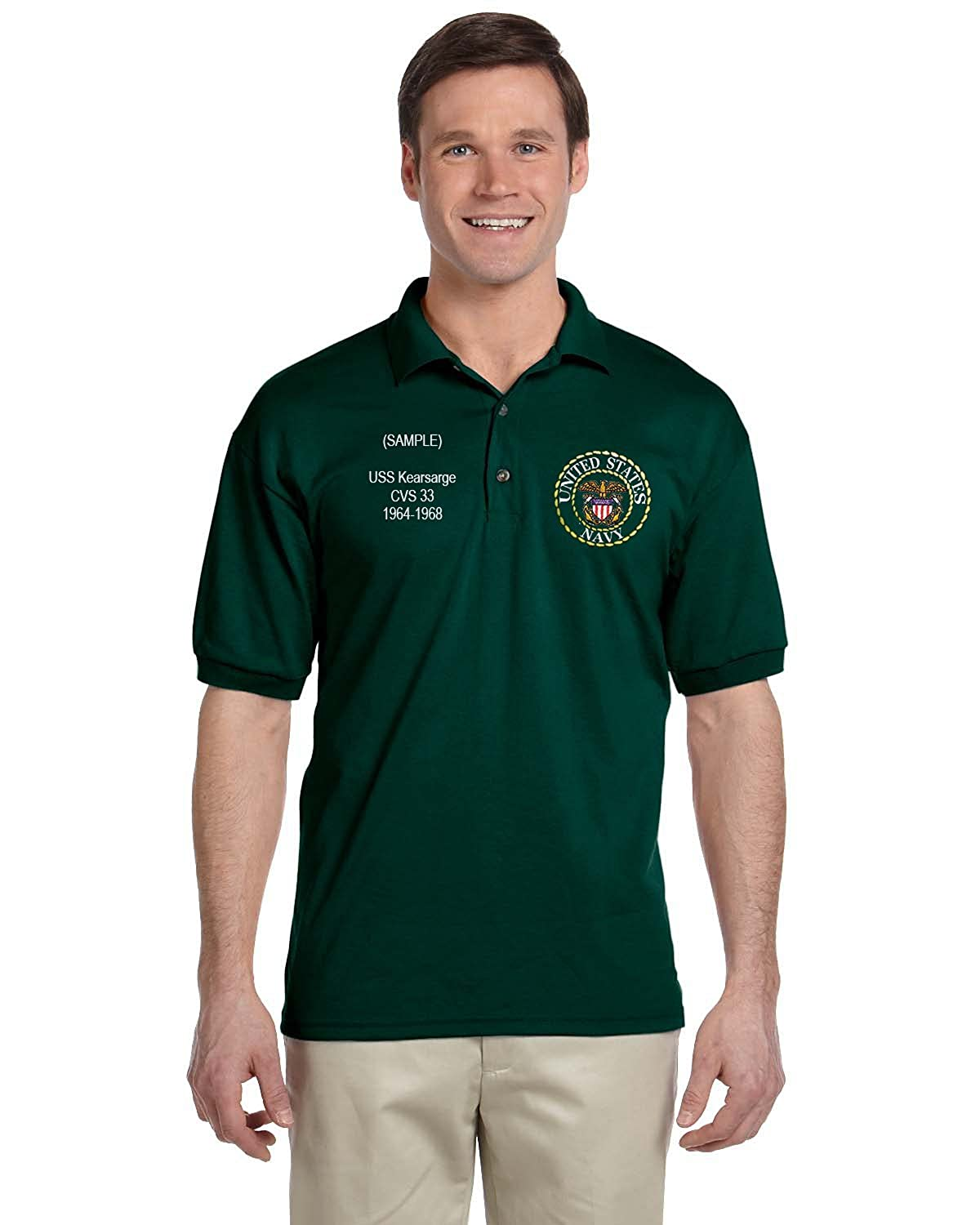 Us Navy Personalized Custom Embroidered Mens Polo Shirt At Amazon