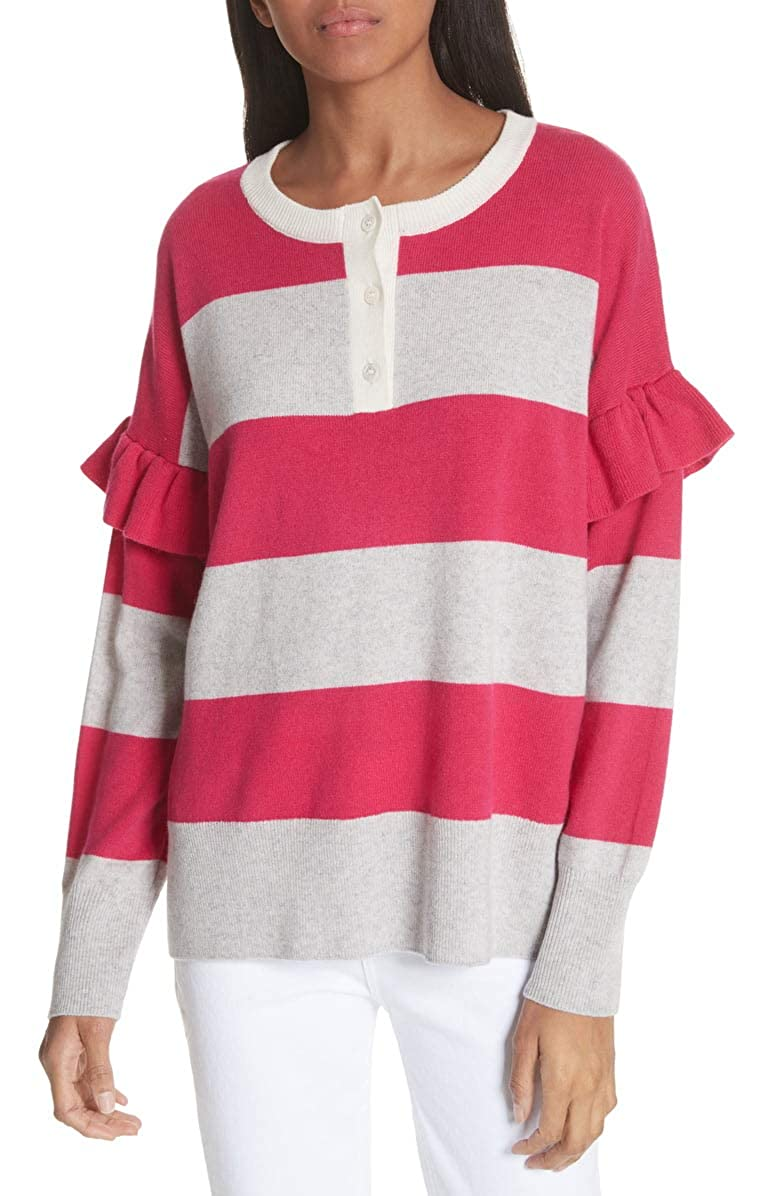 Joie Womens Large Striped Pullover Wool Sweater