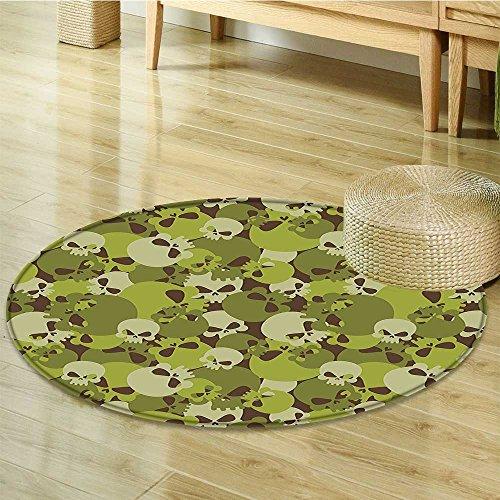 Small round rug Carpet Composition of Skulls Scary Head Skeletons Siers Green Light Green door mat indoors Bathroom Mats Non Slip-Round (Sier Head)