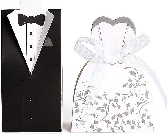 JZK® 100 x Cajas de boda nupcial del diseño del vestido Novio Novia Una caja