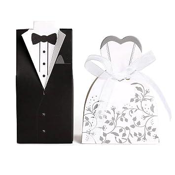 JZK 100 Scatolina portaconfetti portariso scatola bomboniera segnaposto per  matrimonio nozze anniversario fidanzamento porta confetti sposa sposo  ... 58ae8a5f0e0
