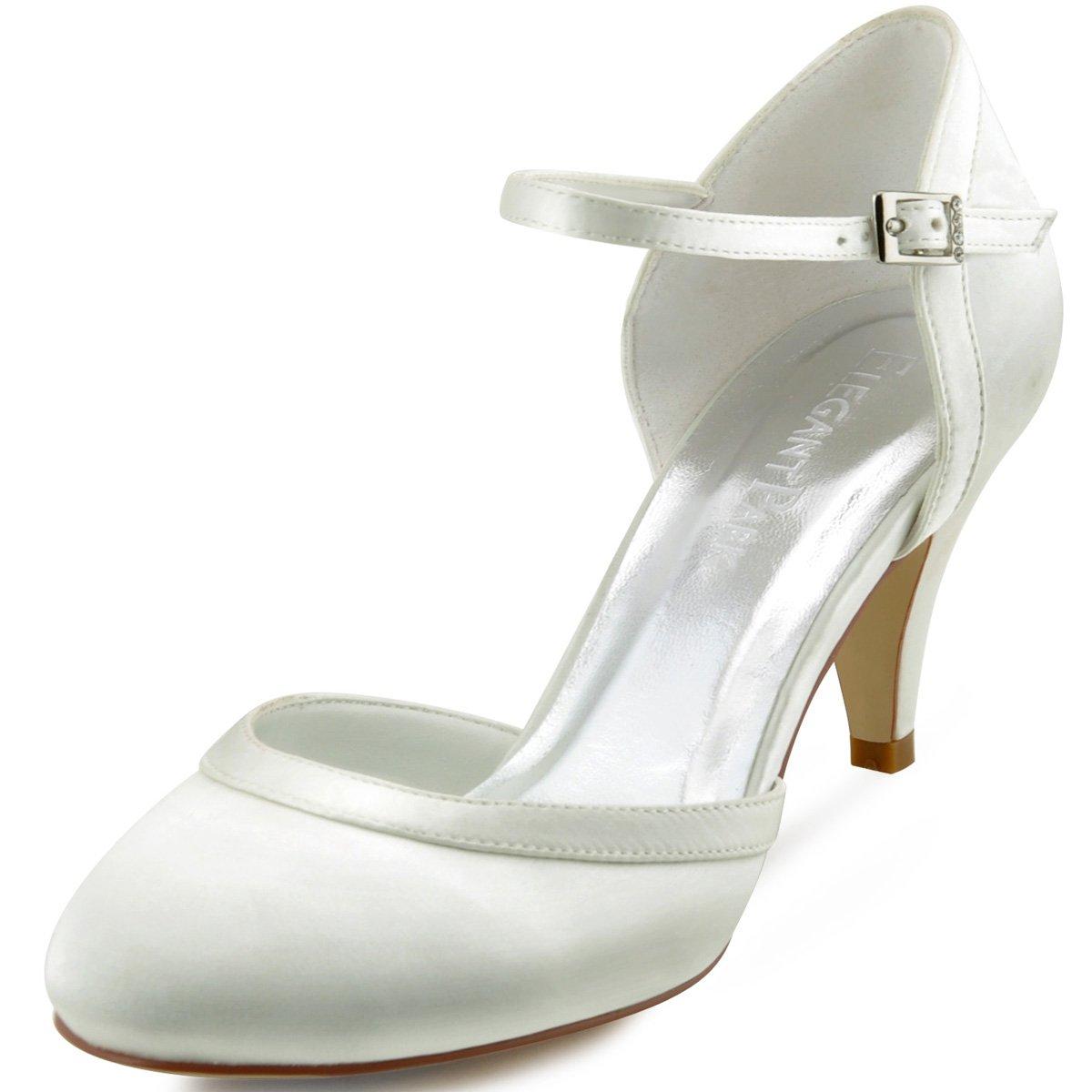 ElegantPark Chaussures HC1509 Escarpins Femme Ivoire Bride cheville Boucle Bout rond Mariee Mary Janes Satin Chaussures Pompes a Talon de Mariee Mariage Ivoire 4cdb623 - shopssong.space