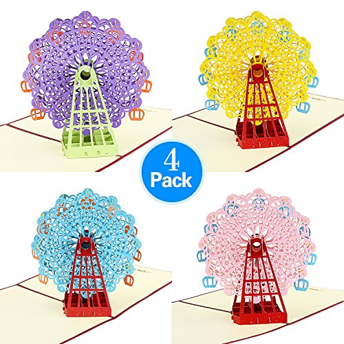 Hello Laura - 4 Pieces of Bundle - Ferris Wheel | 3D Pop Up Greeting Card for All Occasions - Folds Flat for Mailing - Birthday, Graduation, Get Well, Anniversary, Engagement Gift kids | 4 pack ()