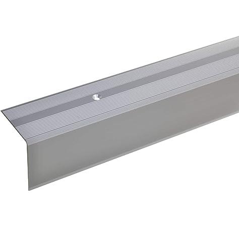 acerto 51070 Perfil angular de escalera de aluminio - 100cm 42x40mm plateado * Antideslizante * Robusto * Fácil instalación | Perfil de borde de escalera perfil de peldaño de escalera: Amazon.es: Bricolaje y herramientas