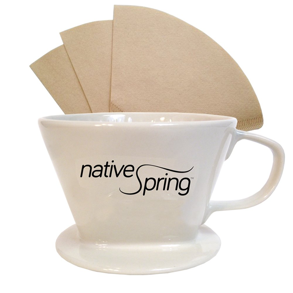 Native Spring Ceramic Coffee Pour Over Dripper Single Serve Brewer Pack Includes 40 Filters Size no. 2