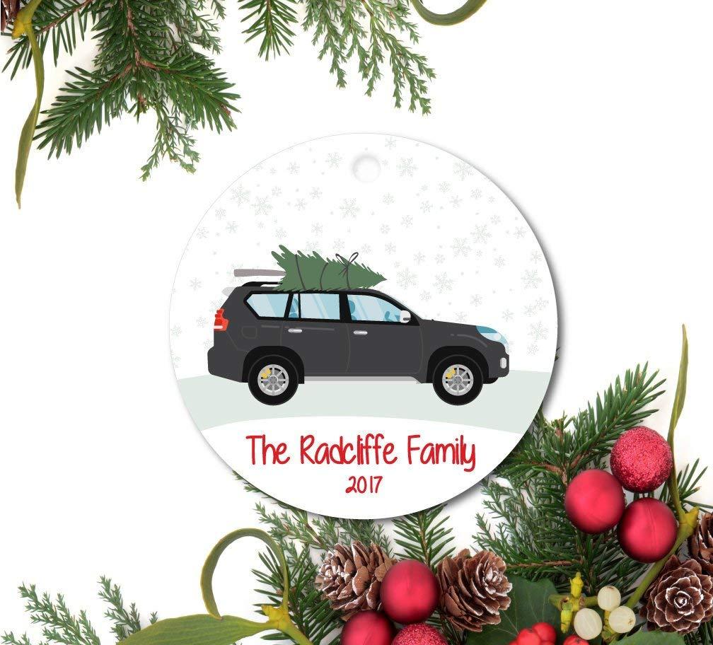 トラックオーナメント ファミリーカーオーナメント 個人化されたクリスマスオーナメント SUV ツリーオーナメント カスタムオーナメント セラミックオーナメント B07JV9GDJG