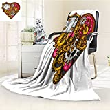 Decorative Throw Blanket Ultra-Plush Comfort steampunk heart collage of metal gears in doodle style Soft, Colorful, Oversized | Home, Couch, Outdoor, Travel Use(90''x 70'')