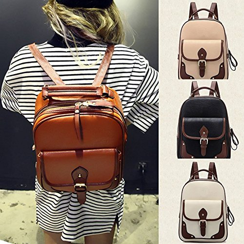 Women Leather Women's Pu Hrph Backpack Beige Patchwork Mochila New Travel Bag Backpacks School pCnxEqOw